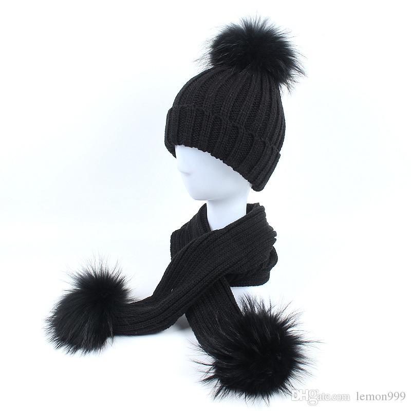 ccbdc4892d156 Winter Baby Girls Boy Beanies Hats Knitted Hat Scarf Set With 100% Raccoon Fur  Pompom Ball Caps Children Hats Kids Warm Beanie Suits Cheap Hats Women Hats  ...