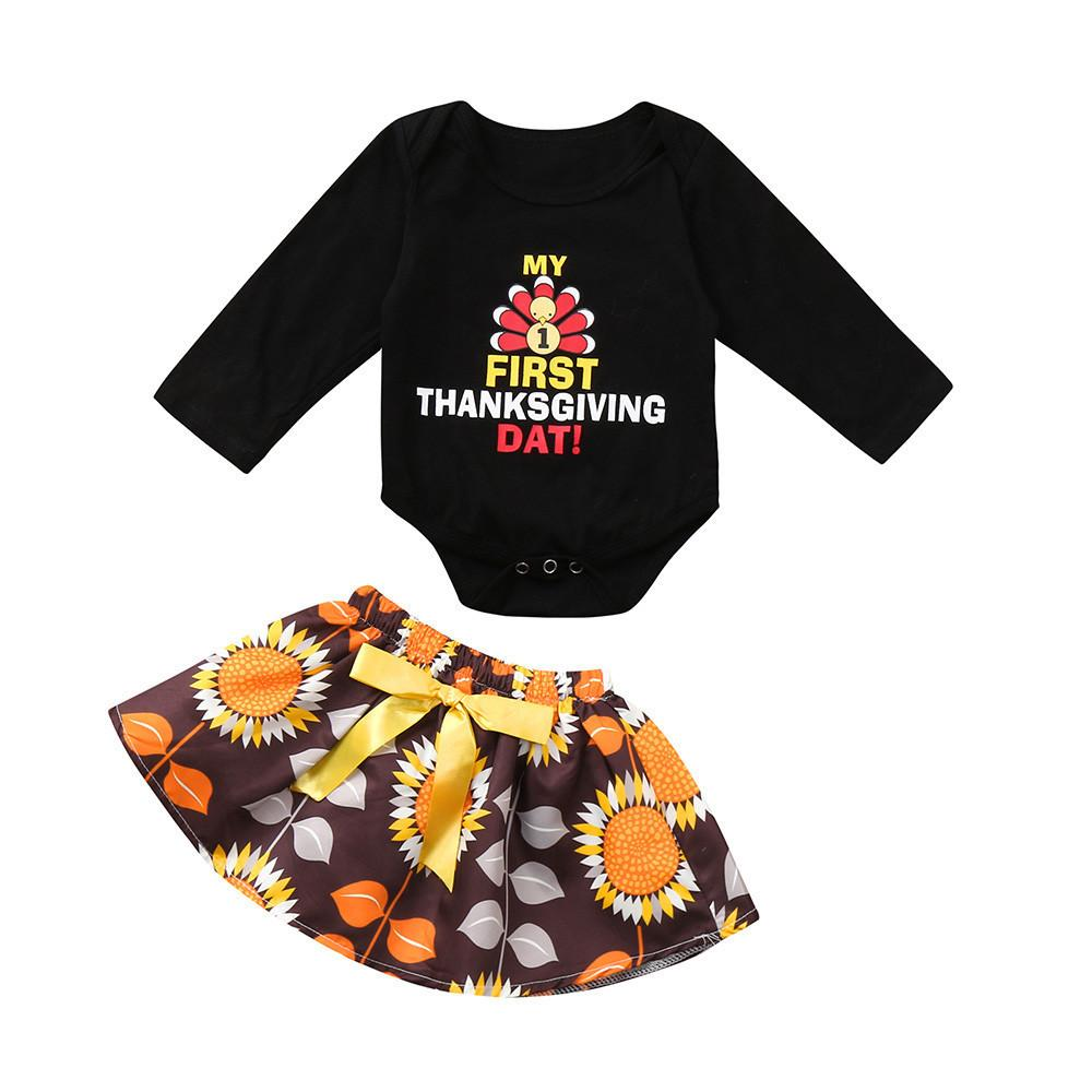 26ceb8310 2019 Good Quality Baby Girls Clothing Kids Winter Clothes Thanksgiving Day  Turkey Letter Print Romper Jumpsuit+Skirt Outfits Roupas From Xiaocao02