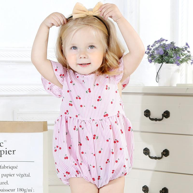 Cute 2019 Ins Baby girls clothing Striped Rompers Jumpsuit Flutter sleeve  Cherry Print 100%cotton Summer kids designer clothes girls BY0861