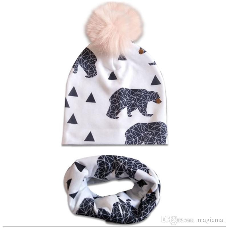 d63c146878a 2019 2019 Baby Hats Kids Caps Cartoon Winter Hats Warm Cap Neckerchief Set  PomPom Ball Ins Fox Beanies Tiger Tree Panda Printed From Magicmai