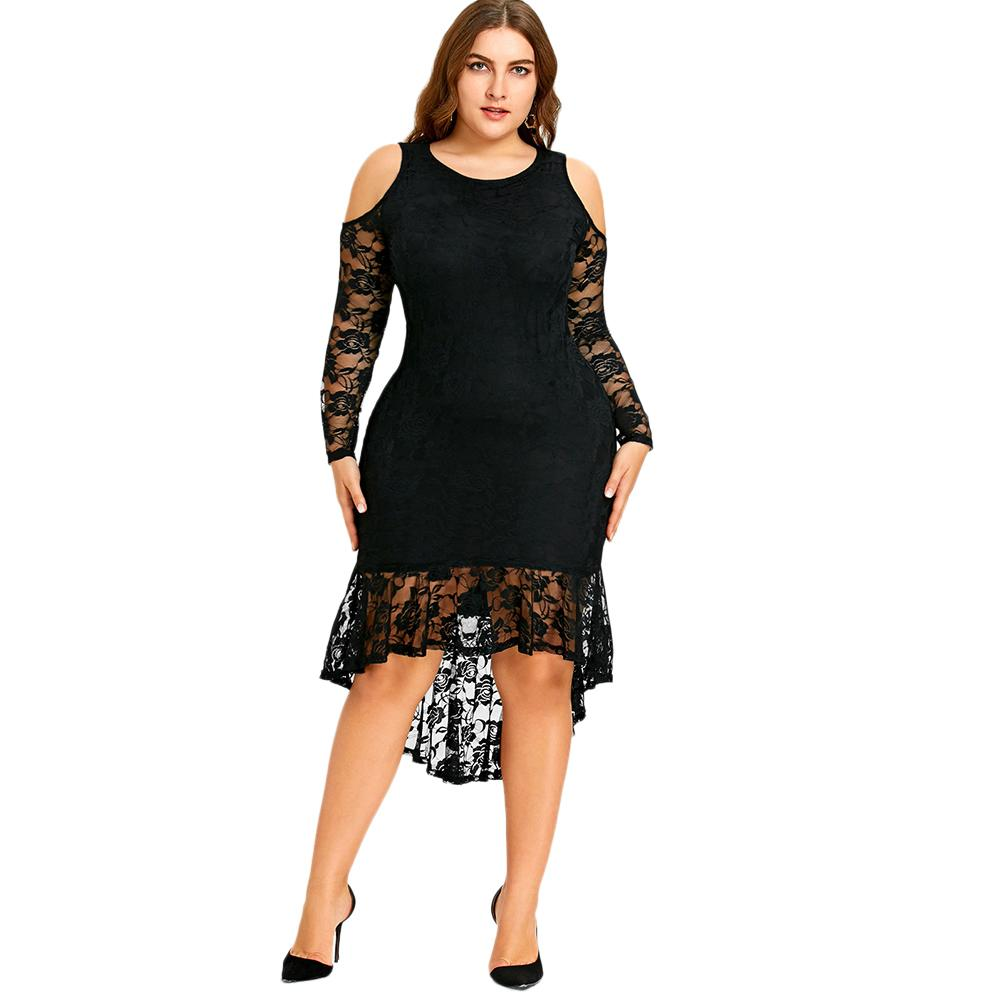 2019 Gamiss Women 2018 New Fashions Plus Size 5xl Cold Shoulder Lace High  Low Hem Dress Vestidos Long Sleeve Mid Calf Mermaid Dresses Y19012201 From  ... 7635686e45ce