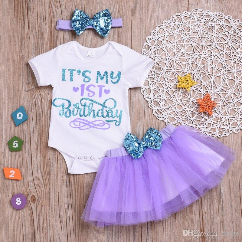 It s My 1st Birthday INS Summer Little Girls Outfits Clothing Sets Baby  Girls Sequin Bows Headbands Letter Rompers Tulle Tutus Skirts Unicorn Girls  ... d0127f4f74ff