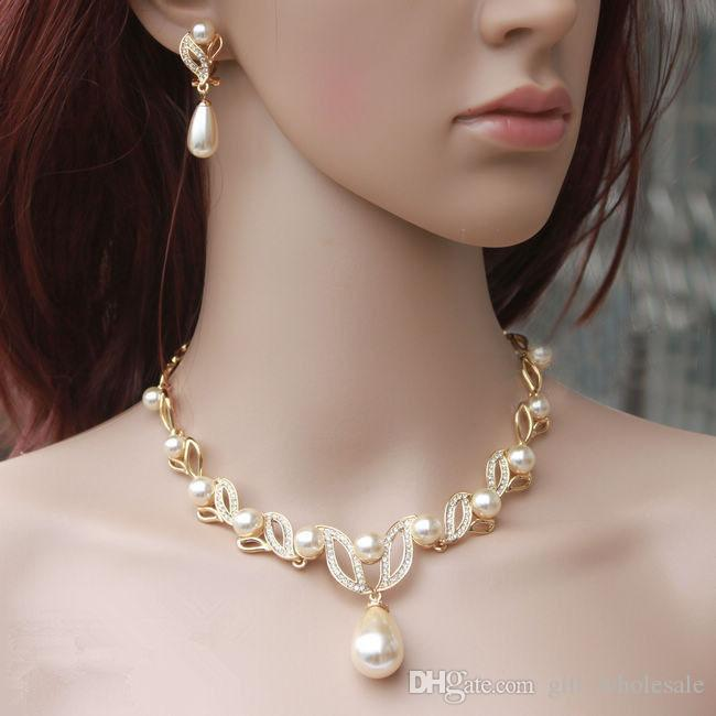 Gold Plated Cream Pearl Drop Pearl and Rhinestone Crystal Bridal Necklace and Earrings Bridal Jewelry Sets