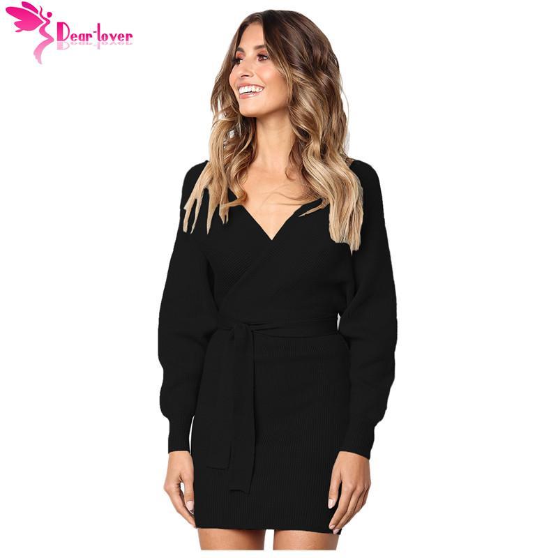 dbb5539dae04 Dear Lover Knitwear Women Elegant Sexy Slim Black Long Sleeve V Neck Tied  Sweater Belted Mini Dress For Winter Vestidos LC27970 Long Sleeve Casual  Dresses ...