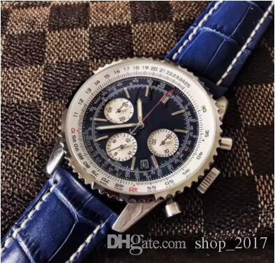 High-quality luxury watch MONTBRILLANT quartz chronograph 43MM blue dial 316L leather strap sapphire original strap men's sports