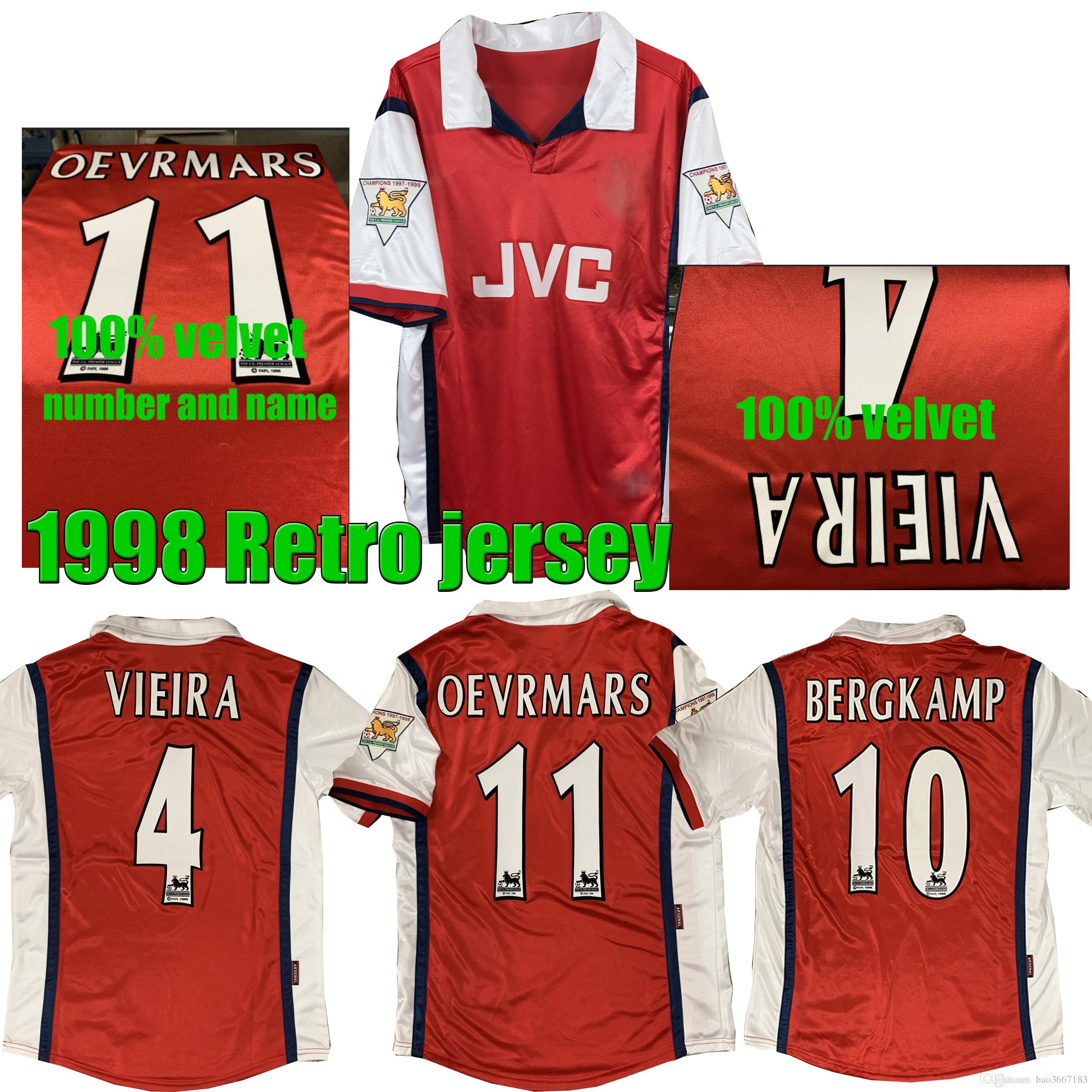 8393fce32 2019 1998 BERGKAMP VIEIRA Retro Soccer Jersey Bergkamp Anelka OEVRMARS 1998  Legendary Retro Football Shirt From Bao3667183