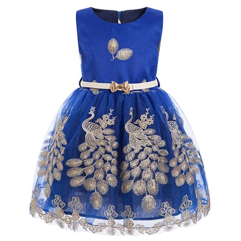 c493f719b Niñas pavo real princesa vestido de fiesta niños ropa niña tutu vestido  para la boda del niño elegante Prom bebé niña azul ropa