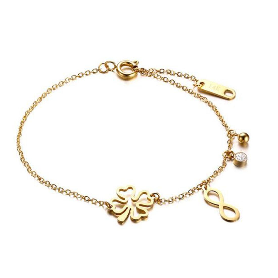 18k Gold Plated Womens Stainless Steel Clover Infinity Charms Link