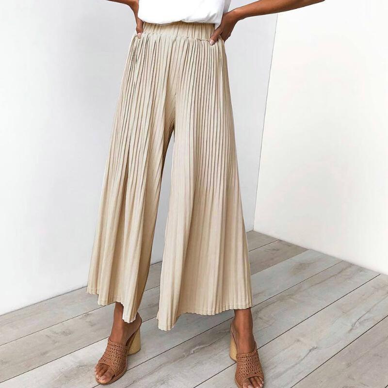 c9a338b694 2019 Summer Wide Leg Pants Women Elastic High Waist Pleated Flare ...