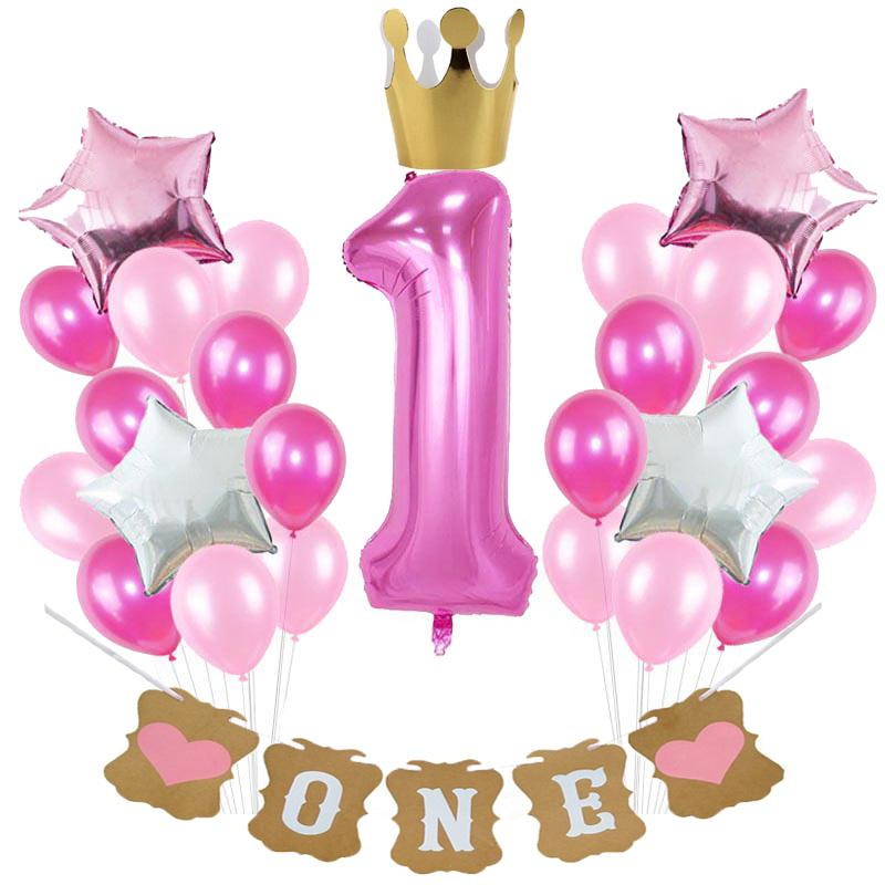 38 Styles baby shower decor Blue Pink Balloons Set Banners Garlands for Kids Baby Boy Girl One Year Old 1st Birthday Party Decor