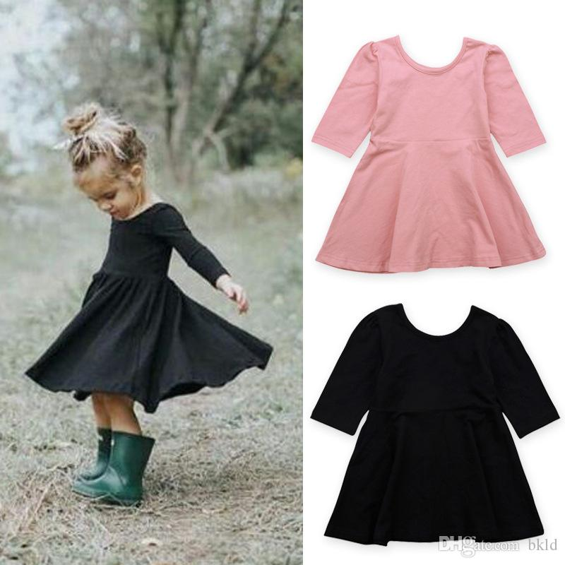 746aa5b62 Spring Autumn Solid Baby Gilrs Dress Three Quarter Sleeve O-neck ...
