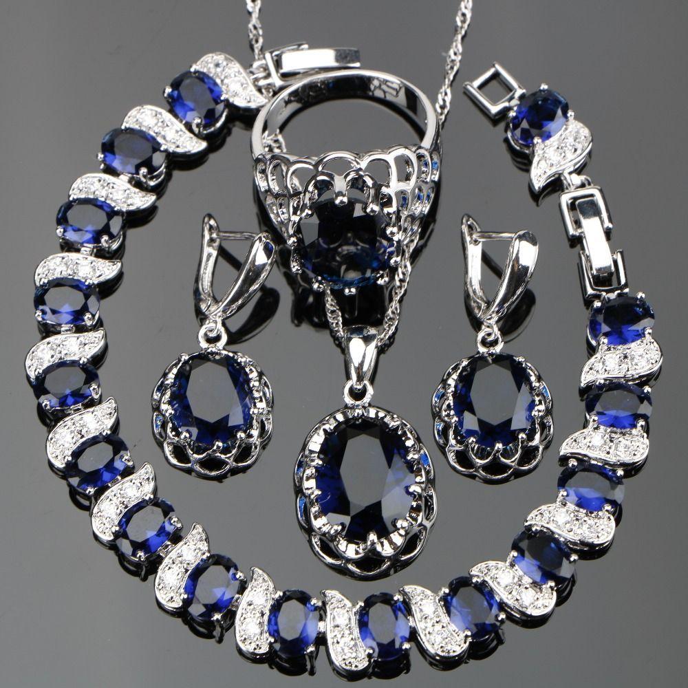 800535b53 Wholesale Silver 925 Costume Blue Zircon Jewelry Sets Women Wedding  Jewellery With Bracelets Earrings Pendant Necklaces Rings Set Gift Box  Heart Pendants ...