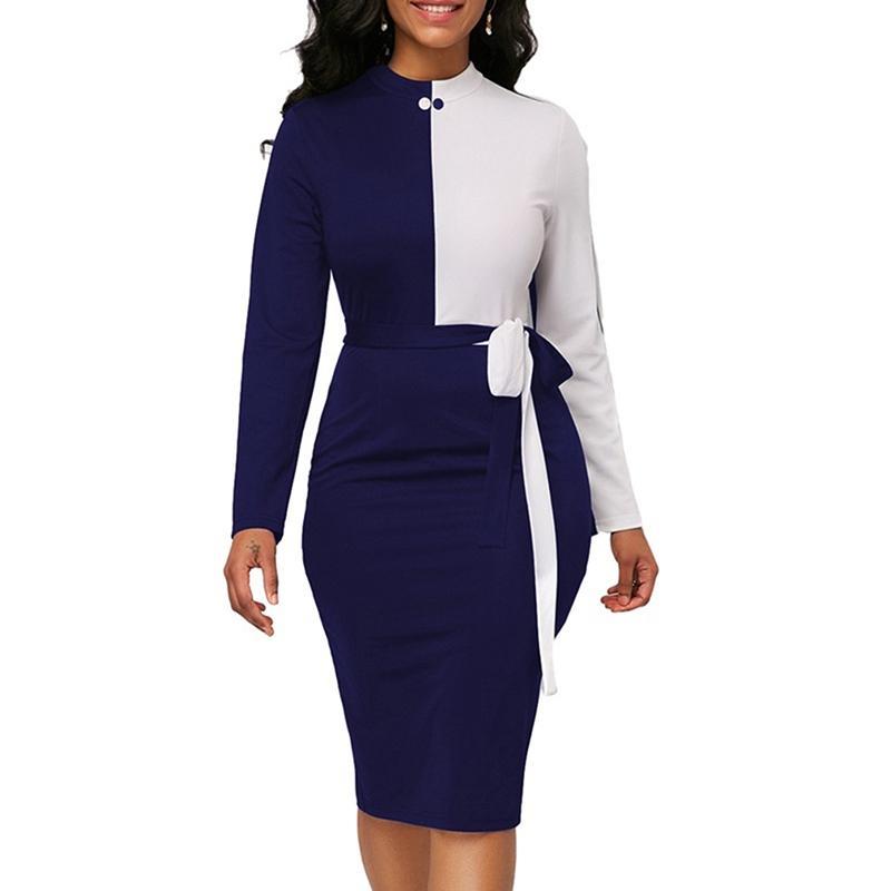 d5cf94ec19ef Vestido de fiesta de la señora 2019 Moda encaje hasta Patchwork Lápiz  Vestido Otoño Primavera Elegante paquete de la mujer Vestidos de la cadera