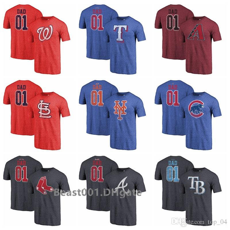 new products 1d8c2 ba64b Rangers Nationals Rays Cardinals Mets Cubs Sox Braves Diamondbacks 2019  Father Day Greatest Dad Tri-Blend T-Shirt