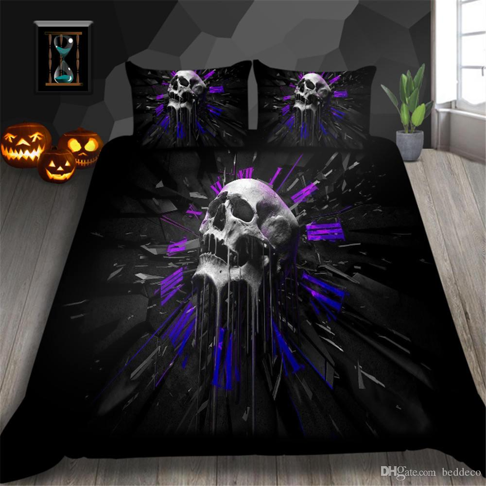 Watercolor Bedding Set Skull Cool Fashionable Duvet Cover Creative King Queen Twin Full Single Double Bed Cover with Pillowcase