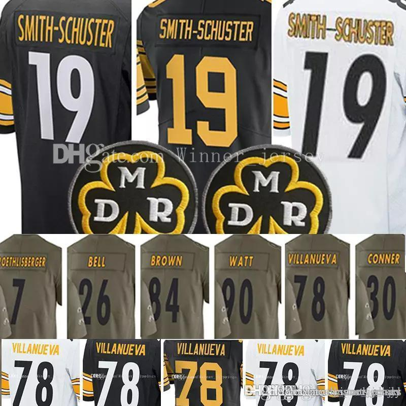 official photos 1fed7 47198 19 Juju Smith-Schuster Jersey 78 Alejandro Villanueva 30 James Conner Brown  Roethlisberger 2017 salute to service limlted Jerseys Stitched