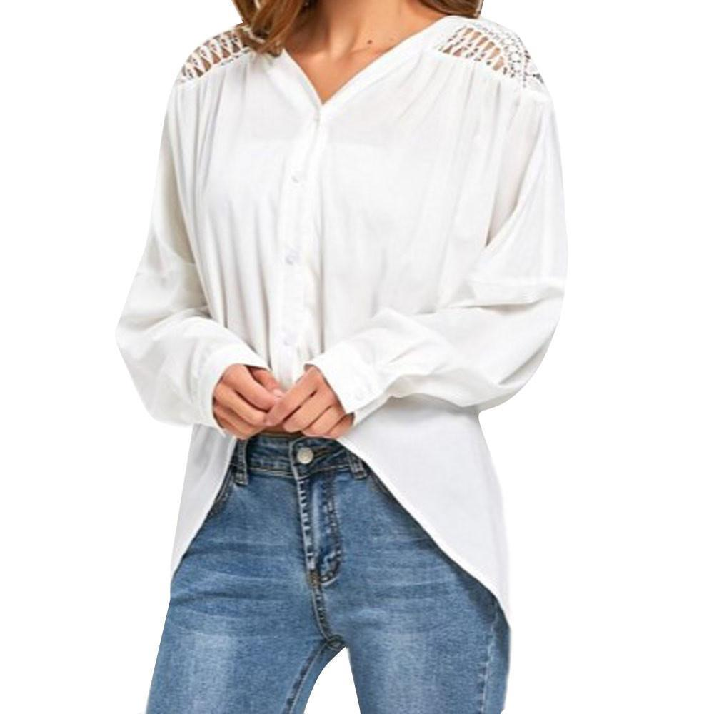 06db67f23 Camisas de Mujer 2019 Top de Encaje Sólido Con Cuello En V Manga Larga de  buena calidad mujeres Gasa Moda Empalme Blusa Blanca Mujer