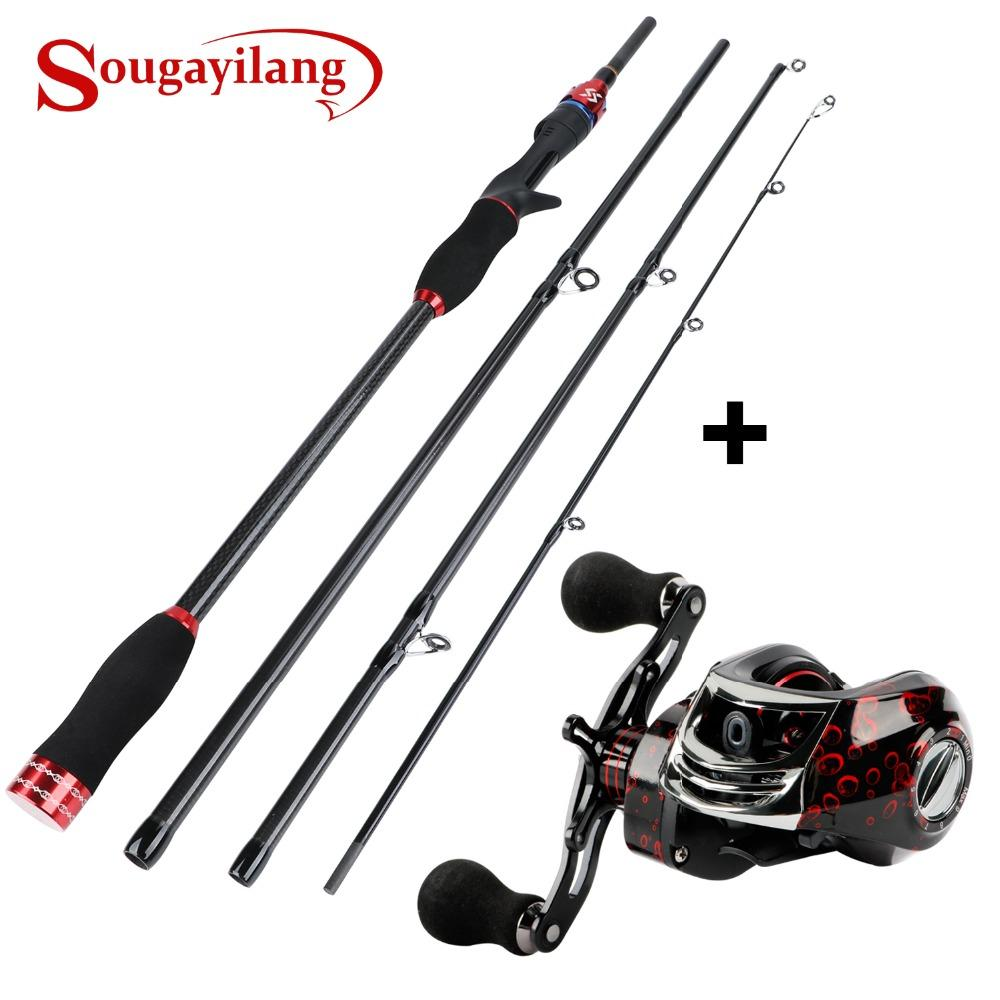 Sougayilang Canne à pêche combinée 1.8M 2.1M Canne à pêche en carbone avec 7.2: 1: 1 17 + 1BB Baitcasting Reel Tackle Set Kit