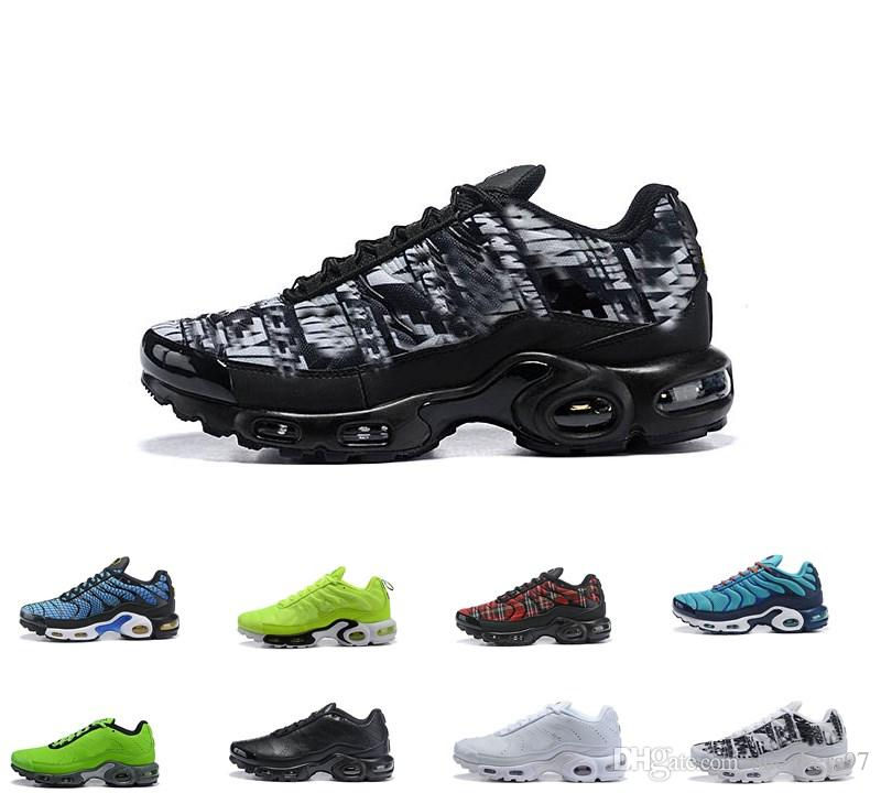super popular 4fcb9 a336b Acheter 2019 Air Men Nike Air Max Plus Tn Ultra SE Noir Blanc Gris Vert  Zapatillas Hombre Maxes Plein Air Chaussures De Plein Air TN Chaussures  Formateurs ...