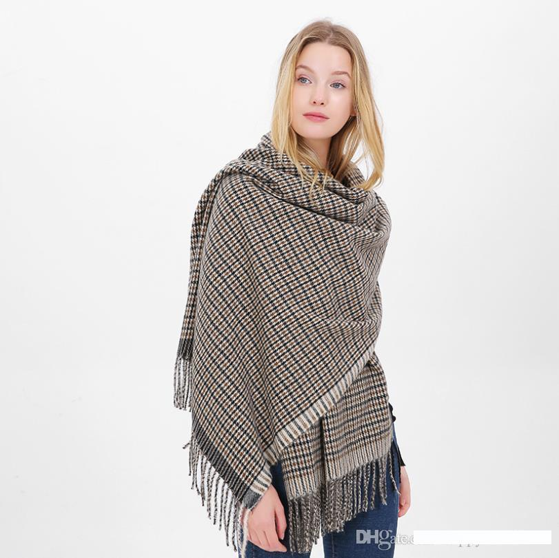 Womens Grid Shawls Pashmina Large Long Winter Warm Oversized Plaids Scarf Wraps Blanket Gift écharpe Schal lydd?mper Chale