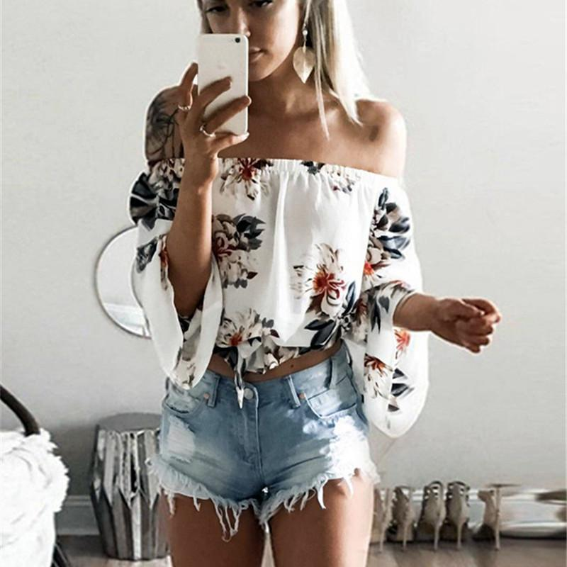 7f91f65973c32 2019 Summer Chiffon Blouse 2019 Fashion Floral Print Women Blouses Boho Off  Shoulder Tops Long Sleeve White Cool Blouse Shirt Blusas From Jamie11