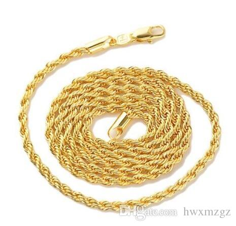 "18k Yellow Gold Filled Women's/Men's Rope Necklace Chain 24""Link Fashion Jewelry"