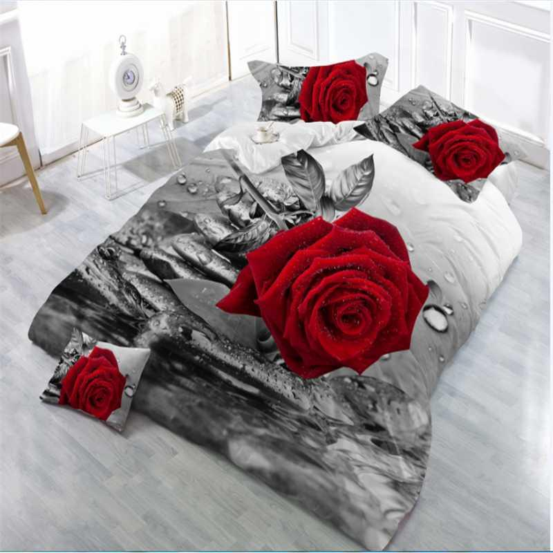 High quality new arrival brand new bedding set king size duvet cover set bedclothes bed sheet 3d red rose Wedding gifts