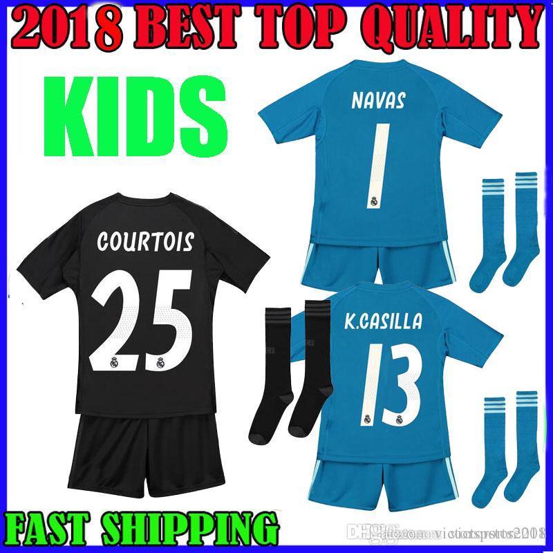 Kids Kit 18 19 COURTOIS Real Madrid Goalkeeper Soccer Jerseys Shorts Socks  2018 2019 1 NAVAS 13 K.CASILLA Camiseta De Futbol FOOTBALL SHIRTS COURTOIS  ... cd6cc7066