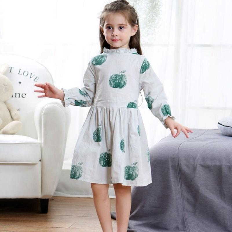 7db06c5b626a2 Satın Al 2019 Kızlar Sonbahar Elbiseler Moda Apple Baskı Giyim Uzun Fener  Kollu Ruffles Lolita Tarzı Çocuk Sonbahar Pamuk Elbise, $29.94 |  DHgate.Com'da