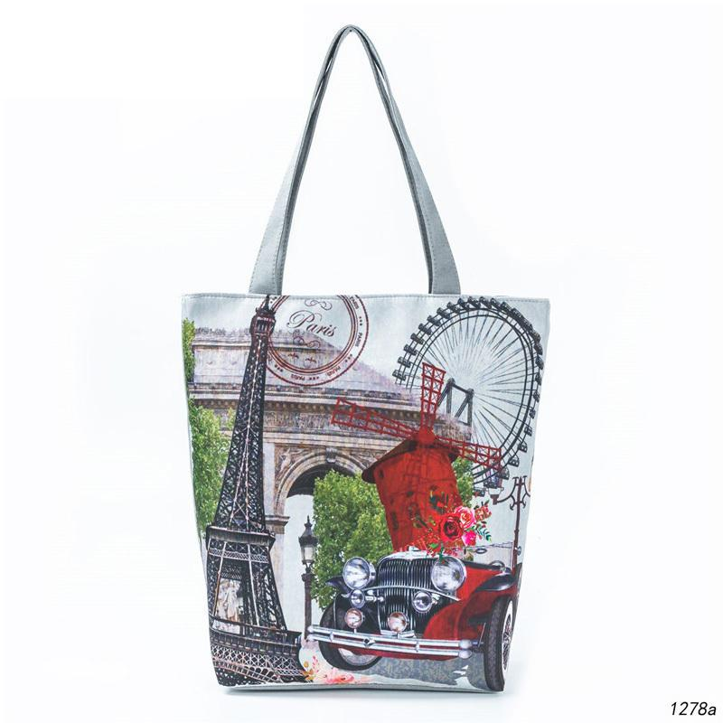 741642d12844 Good Quality Casual Canvas Design Tote Handbag Women Vintage Eiffel Tower  Printing Beach Bag Female Shopping Bag Designer Handbags On Sale Black  Handbag ...