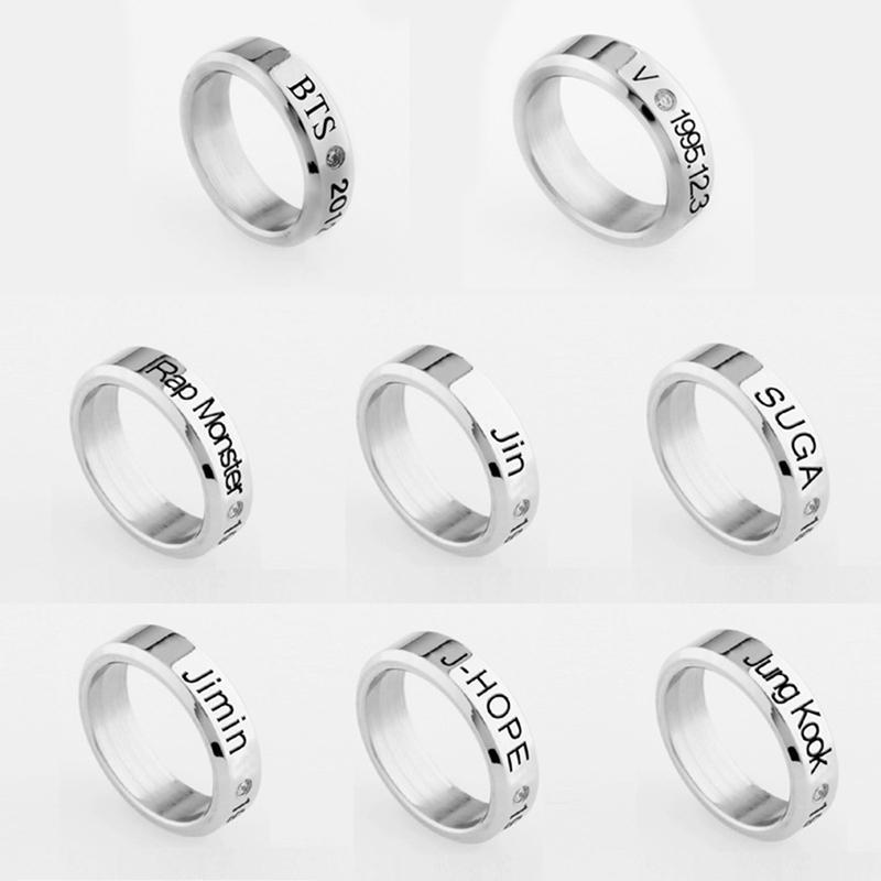 8 Style Bangtan Boys BTS Album Ring Rap Monster Jimin Jin Suga V J-Hope Jung Kook Jewelry Rings Accessories For Men Women Female
