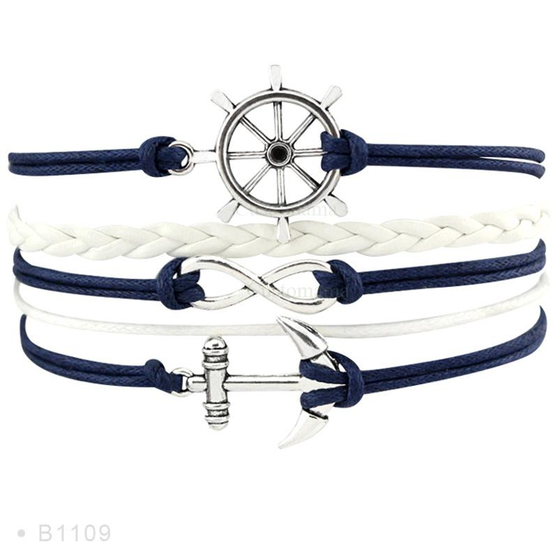Rudder Compass Sailing Infinity Charm Bracelets Heart Cross Arrow Jewelry Black Blue Red Wax Cord Women Men Unisex Girl Gift