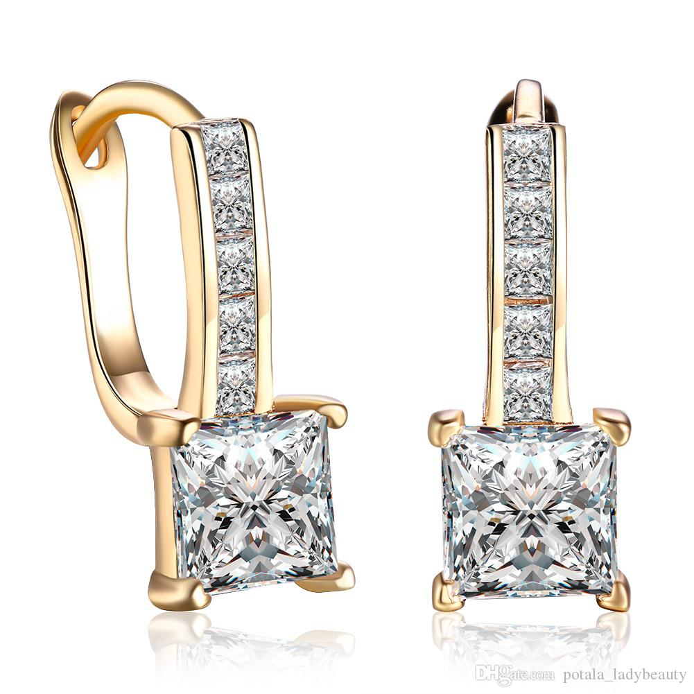859a48f32 2019 Individually Earrings Zircon Square Shape Gold Plated Clip On&Screw Back  Earring Accessories Romantic Girls Anniversary Prom Gifts POTALA115 From ...