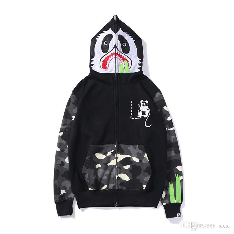19FW Spring and Autumn New Kung Fu Panda Mouse Print Japanese Tide brand luminous spot stitching sweater men and women hoodie