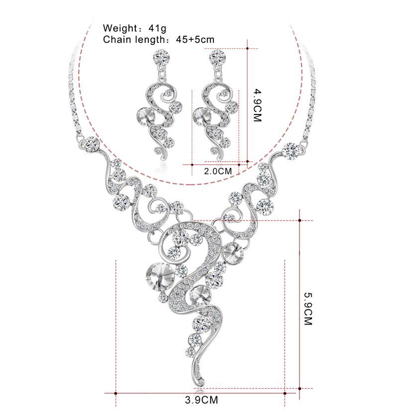 Danbihuabi 2018 Elegante Casamento Nupcial Conjuntos de Jóias Branco K Colar de Strass Brincos Conjuntos de Jóias Traje para As Mulheres Presentes
