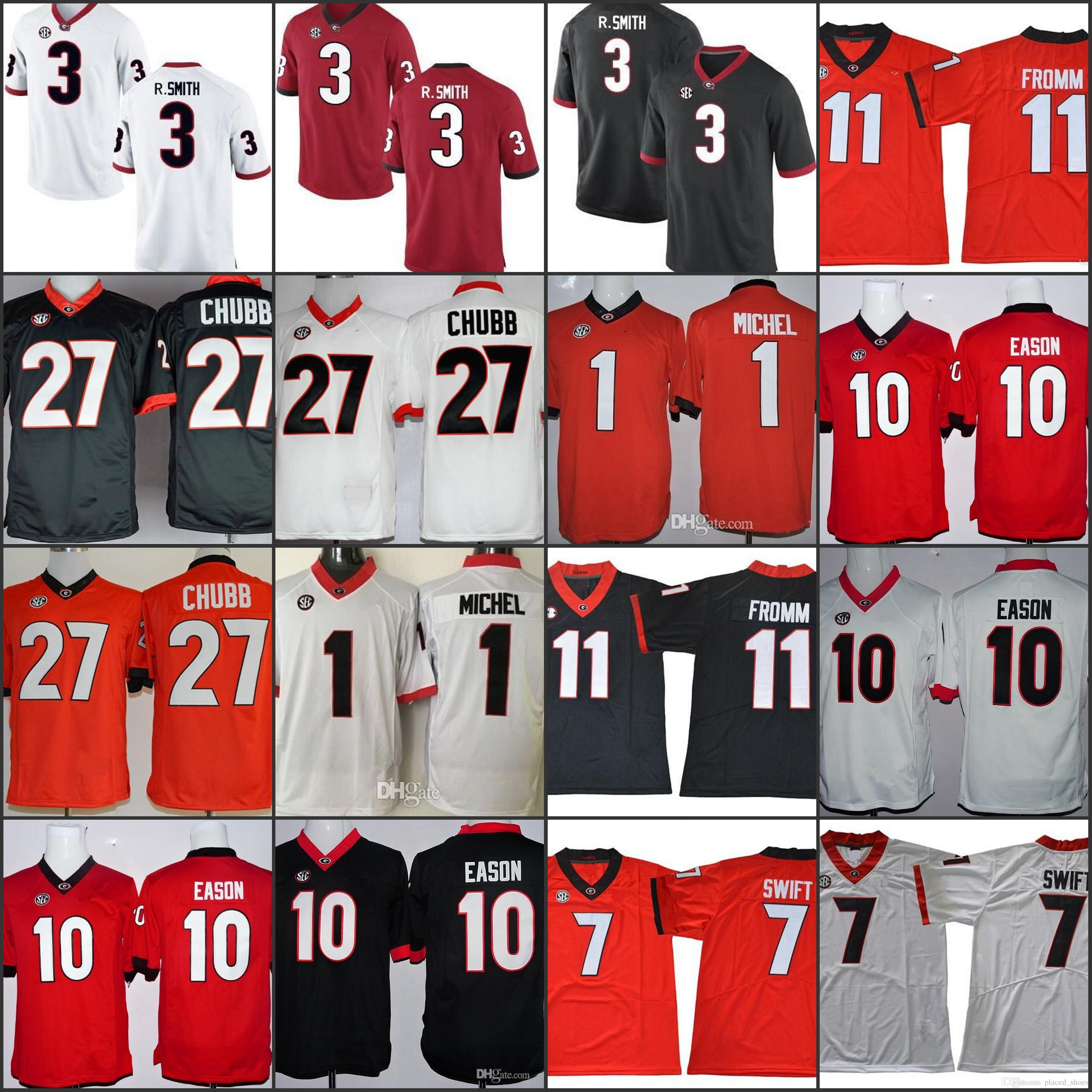 bae2f65d986 2019 NCAA Georgia Bulldogs 11 Jake Fromm 27 Nick Chubb 7#DAndre Swift 3  Roquan Smith Black Red White 2018 Rose Bowl Championship Jerseys Stitched  From ...