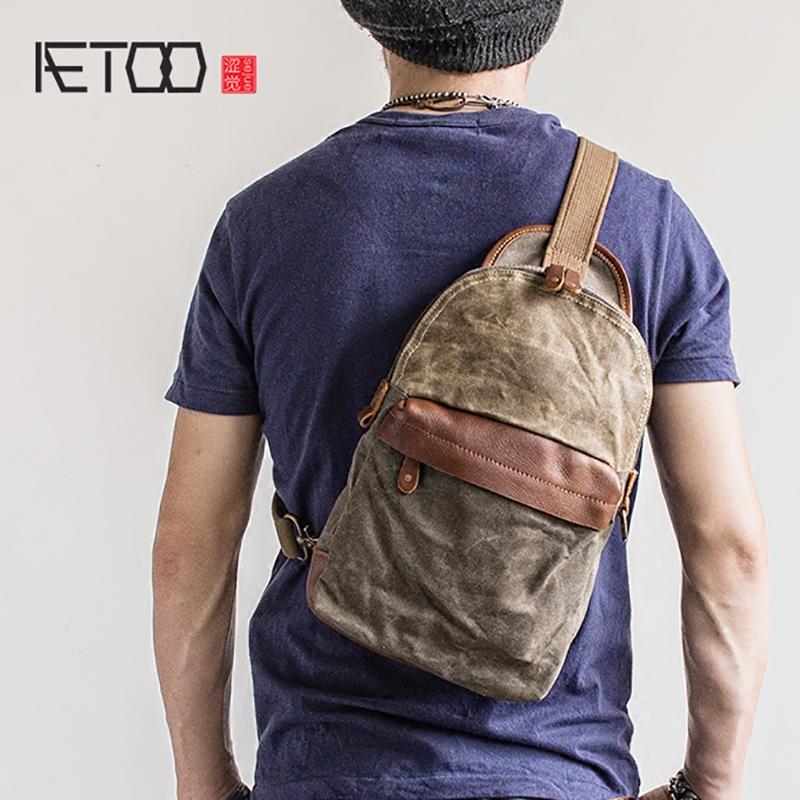 16cfe8062586 AETOO Vintage Chest Bag Oil Wax Canvas Small Crossbody Bag Summer ...