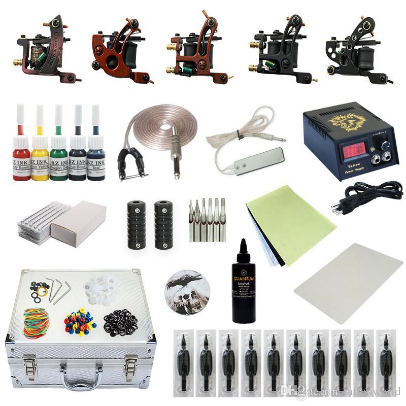 Good Quality Best Price Complete Tattoo Kit 5 Machine Gun Inks Power ...