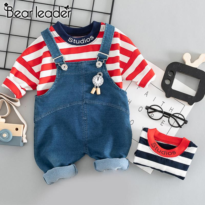 Bear Leader Baby Boy Clothes Set New Autumn Kids Clothes Suit Striped T-shirt and Jeans Rompers Boys Kids Suits 2pcs