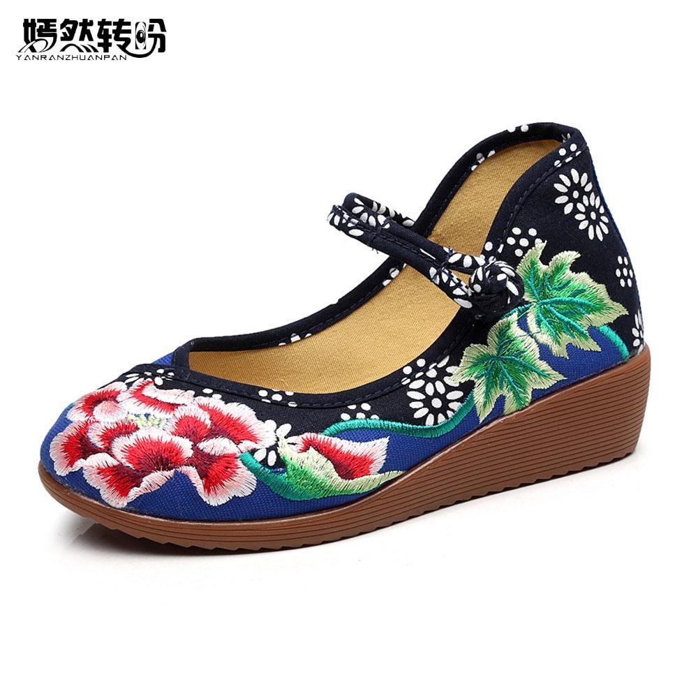 30036b22e1 Scarpe eleganti designer Scarpe da donna cinesi Tela etnica Ricamo Fibbia  floreale Suola con zeppa Mary Jane Ballerina da danza classica da donna