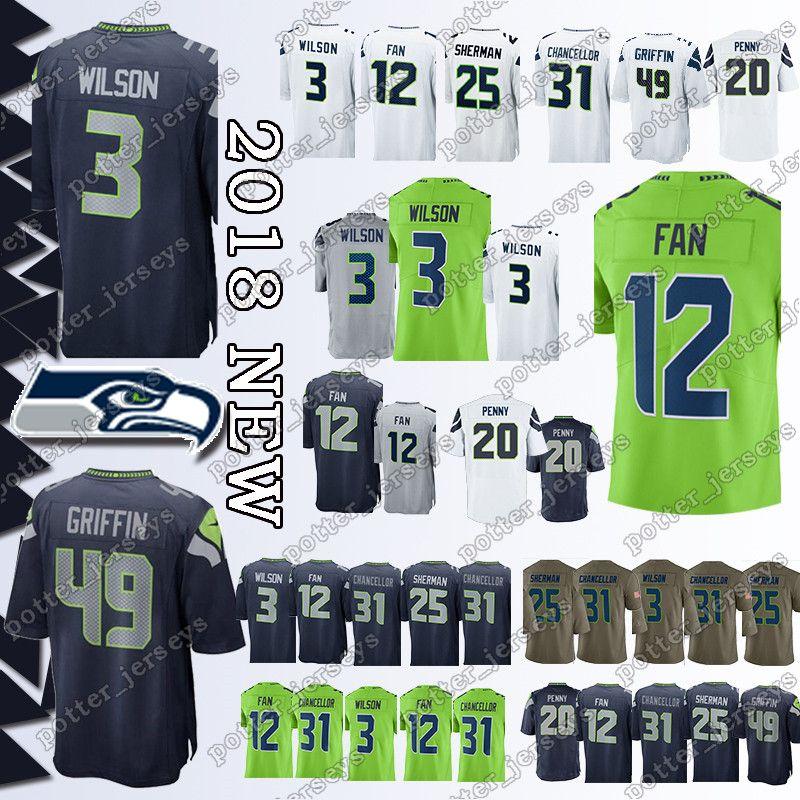 52e40544 Cheap sales Seattle Seahawk Jerseys 49 Shaquem Griffin 3 Russell Wilson 20  Rashaad Penny 12 Fan 31 Kam Chancellor 25 Richard Sherman Jersey