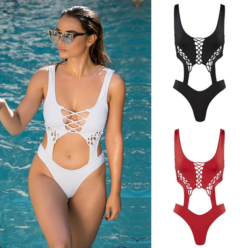 cdc39b8631e 2019 Sexy Lace Up One Piece Bathing Suit Bandage Monokini Push Up Swimsuit  Women Strappy Scoop Neck High Cut Out Swimwear Beach Wear From  Swimwear2016, ...