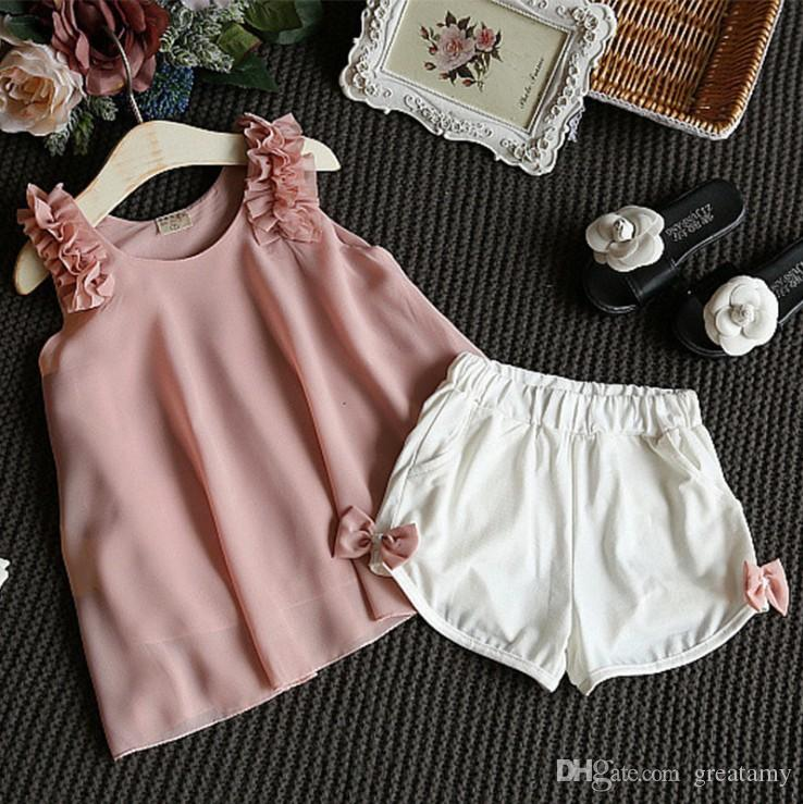 Children boutiques clothes Baby girls chiffon vest tank tops+white shorts pants 2pcs casual summer outfits cool leisure girl clothing suit