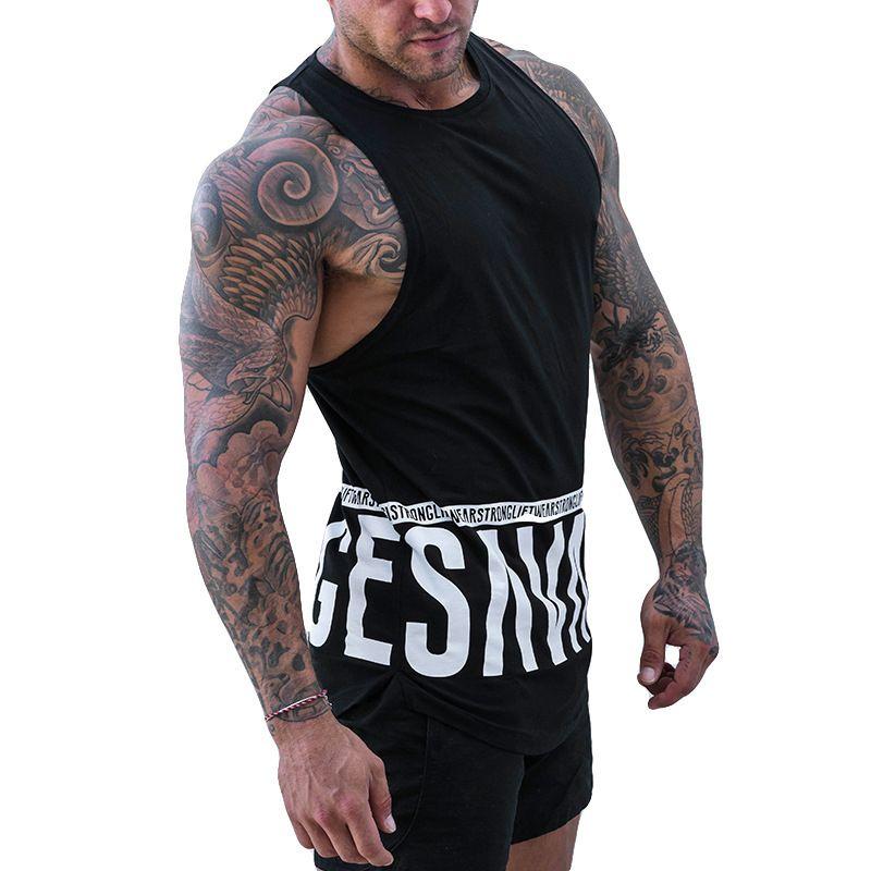 31e70142fff38e 2019 New Cotton Workout Clothing Men Bodybuilding Tank Top Gyms Fitness  Sleeveless Tanks Fashion Singlet Vest Undershirt Male Geek T Shirts Mens  Formal ...