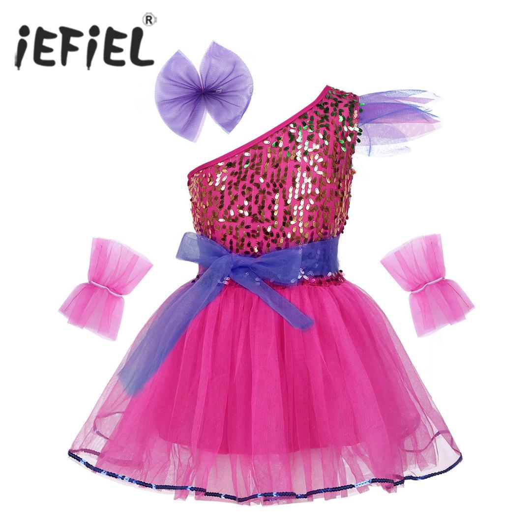 Kids Girls Jazz Dancewear Costume One-Shoulder Sparkly Sequins Mesh Dress with Hairclip and Belt for Modern Contemporary Dance