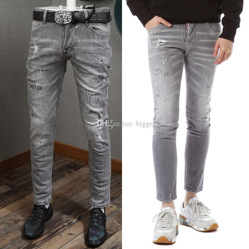 93d95b96be9 2019 Popular Jeans With Pocket Cool Guy Distressed Wash Painted Skinny  Fitness Denim Pants Man Slim Legs From Bigget