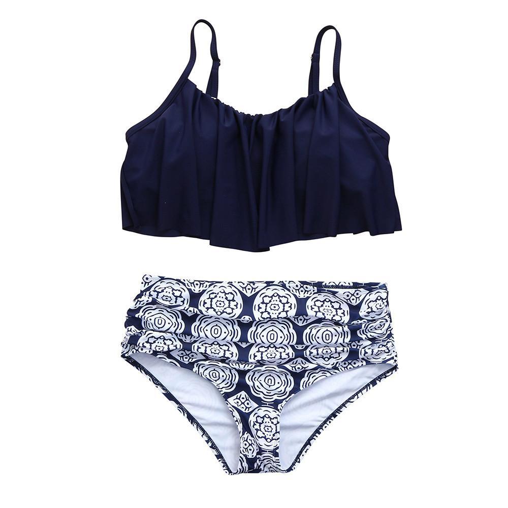 58f55ce310c 2019 Women Sexy Falbala High Waist Swimwear Bikini Set Push Up Swimsuit  Halter Bathing Suit Bathers Biquini Beach Swimming Mujer DZ50 From Missher,  .