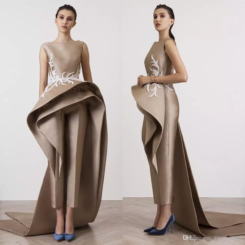 Krikor Jabotian Appliques Women Jumpsuits Evening Dresses Ruffle Peplum Elegant Sleeveless Prom Party Dress Long Train Formal Gowns plus
