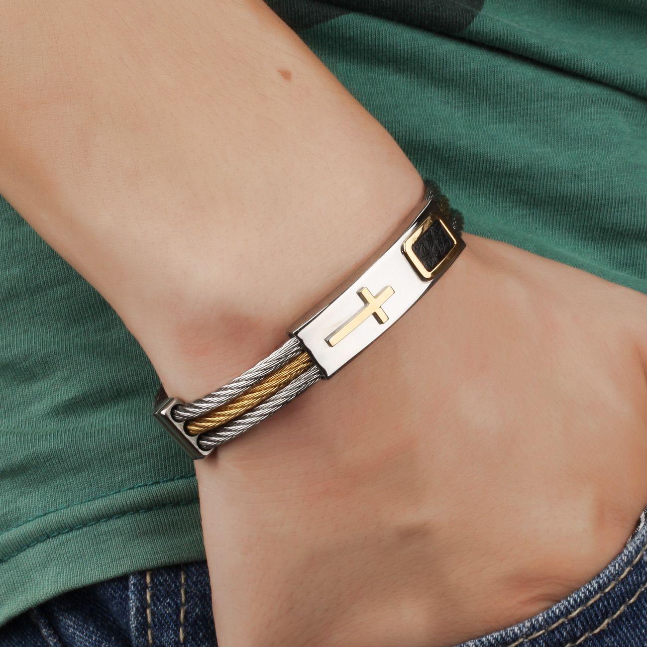 LASPERAL Stainless Steel Male Bracelet 3Rows Wire Chain Bracelets ... 89e2405d955d