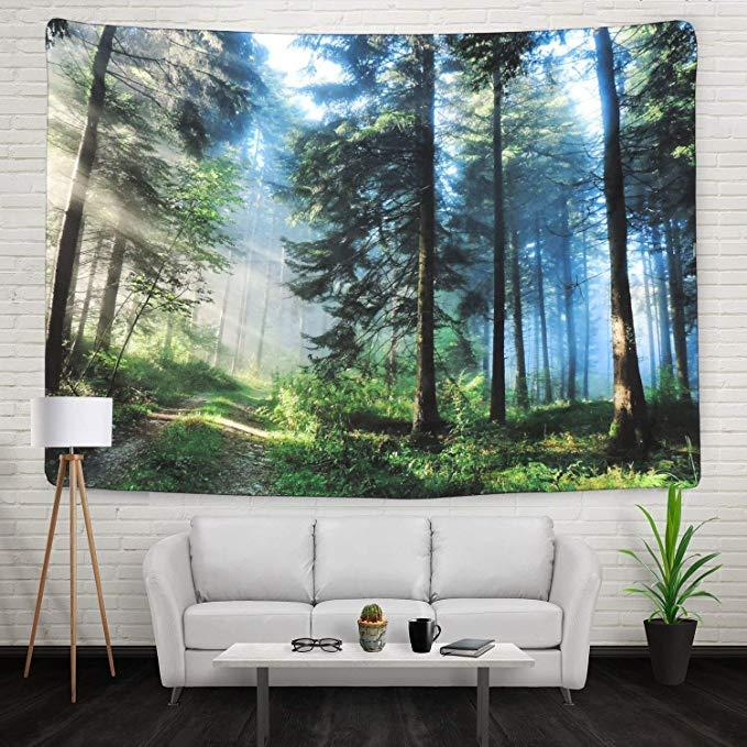 Home Decor Green Trees Cactus Forest Tapestry Wall Hanging Printed Fabric Landscape Tapestries Blankets Bedspread Carpets Nature